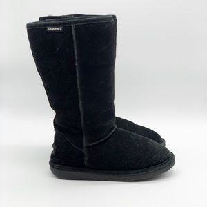 BearPaw Black Emma Tall Suede Lined Sheepskin Boot